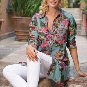 soft surroundings scattered roses shirt top
